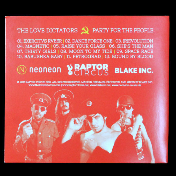 "Rückseite des The Love Dictators Albums ""Party for the People"""