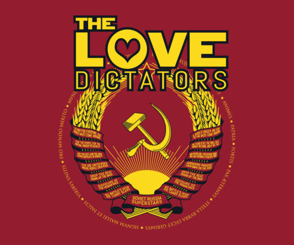 The Love Dictators Aufdruck Crest Logo auf Cardinal Red Shirt