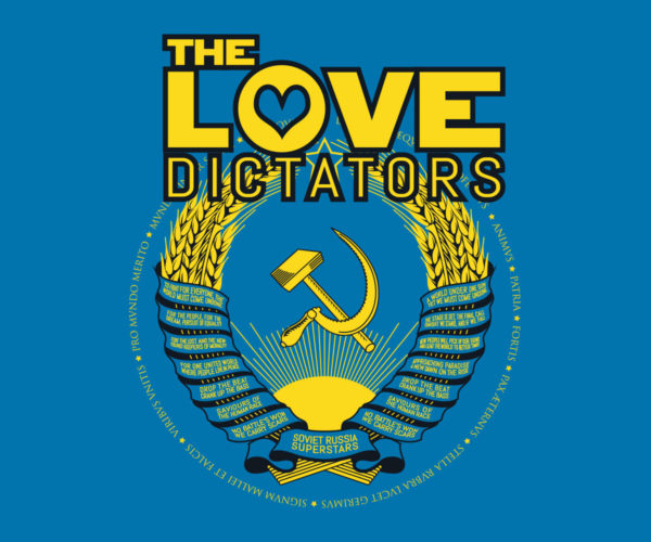 The Love Dictators Aufdruck Crest Logo auf Sapphire Blue Shirt